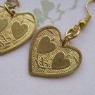 Gold Tone Colored Sweet Heart Designed Heart Earrings, Hook Backs