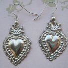 Light Weight Pewter Heart Milagro Charms, Silver Colored Hook Back Earrings