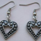 Silver Tone Colored Dotted Heart Charms, Hook Back Earrings