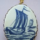 Oval Cameo Necklace, White Background with Blue Sail Boat