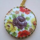 Circular Cameo Pendant Necklace, Purple, Yellow, and Red Flower Print