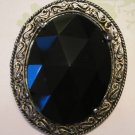 Black Center with Gold Filigree Frame Vintage Pin