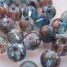 Blue Glass Beads with Color Flecks, 33 Pieces