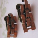 Retro Copper Links, Post Backs with Clips, Earrings