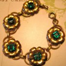 Retro Copper Flower Bracelet with Green Rhinestone Centers