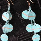 Retro Teal and Gold Colored Disks on Teal Chain, Hook Back Earrings