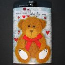 Stainless Steel Flask - 8oz., Fuzzy Teddy Bear Print on Blue Background