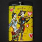 Stainless Steel Flask - 8oz., Day of the Dead Couple Yellow Background