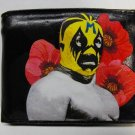 Hand Decorated Wallet, Lucha Libre Man with Flower Background