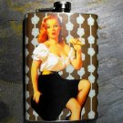 Stainless Steel Flask - 8oz., Pin Up Girl Black and White Print Background