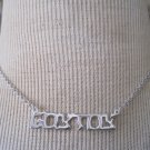 "Silver ""Goy Toy"" Charm Necklace, Silver Chain"