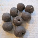 Hand Made Dark Brown Clay Beads, 8 Pieces