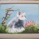 """Molly Dog"" Black and White Dog with Flowers, Hand Painted, Oil Painting"