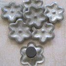 Set of Seven Recycled Metal, Flower Magnets