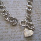 Petite Double Link Silver Bracelet, Small Heart Charm