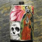 Stainless Steel Flask - 8oz., Day of the Dead Virgin Mary Skull Flower Background