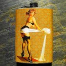 Stainless Steel Flask - 8oz., Pin Up Girl on Yellow Print Background