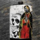 Stainless Steel Flask - 8oz., Day of the Dead Virgin Mary on Skull Print Background