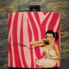 Stainless Steel Flask - 8oz., Pin Up Girl in White on Pink Print Background