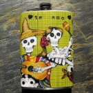 Stainless Steel Flask - 8oz., Day of the Dead Couple on Green Print Background