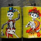 Set of Two Stainless Steel Flask - 8oz., Day of the Dead Man and Woman, Green Print Background