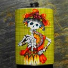 Stainless Steel Flask - 8oz., Day of the Dead Lady on Green Print Background