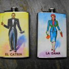 Set of Two Stainless Steel Flask - 8oz., Loteria Card Print Man and Woman