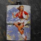Stainless Steel Flask - 8oz., Pin Up Cowgirl on Flower Background