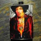 Stainless Steel Flask - 8oz., Jimi Hendrix on Flower Background