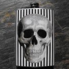 Stainless Steel Flask - 8oz., Skull on Black and White Lined Background