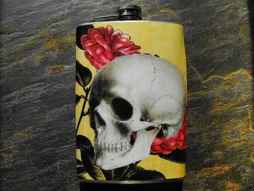 Stainless Steel Flask - 8oz., Skull on Flower Print Background