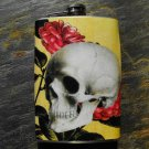 Stainless Steel Flask - 8oz., Skull on Flower Print Background