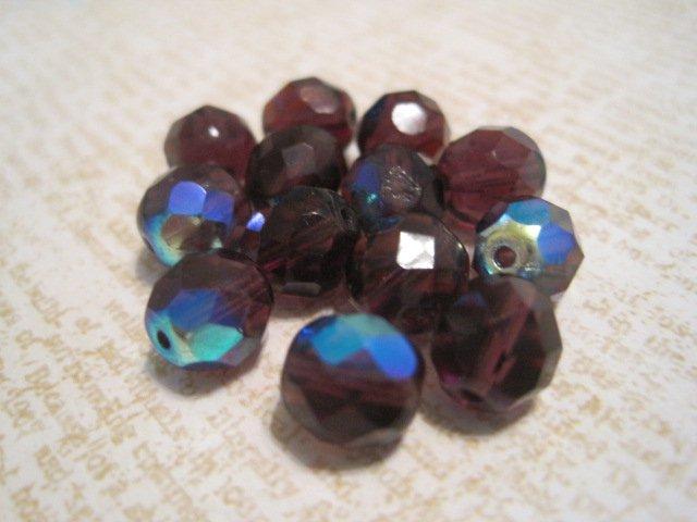 Purple Iridescent Beads, 13 Pcs.