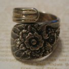 Silverware Handle Ring, Carved Flower Design, Size 8.5