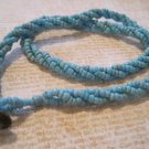 Light Blue Beaded Twist Necklace, Button Hook