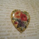 Yellow and Red Flower Print Heart Cameo, Jewelry Finding