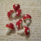 Set of 7 Tiny Red and White Mushrooms, Retro Finding, Very Fragile