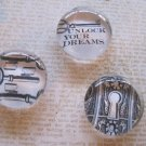 "Set of Three Black and White Magnets, ""Unlock Your Dreams"", Lock, and Keys Print"