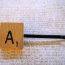 "Hand Made, Scrabble Tile ""A"" on Black Extra Thick Bobby Pin Hair Clip"
