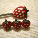 Two Retro Hand Painted Strawberry Bobby Pins, Hair Clips