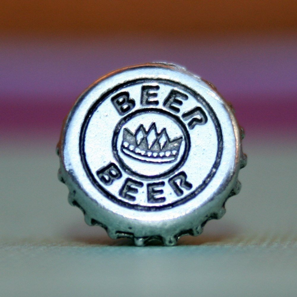 Silver Beer Bottle Cap Tie Tack, Hand Made
