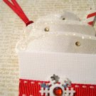 White Coffee Cup, Holiday Gift Tag, Red Ribbon