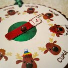Reindeer Spinner, Holiday Gift Tag, Green Ribbon