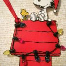 Snoopy and Woodstock with Lights, Holiday Gift Tag, Red Ribbon