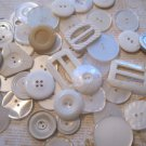 Mixed Bag of Vintage and Retro White Buttons 53 Pcs