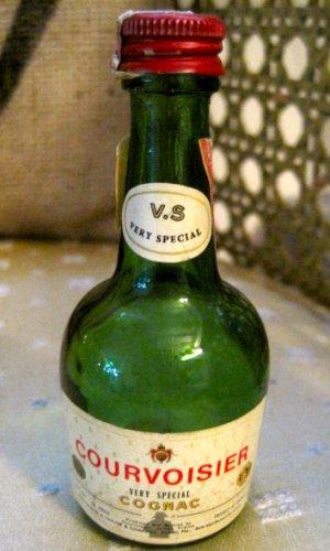 Vintage Mini Green Cognac Bottle