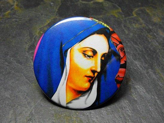 Virgin Mary Face Print, Decorated Vanity Pocket Mirror
