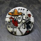 Day of the Dead Couple Dancing on Music Background, Decorated Vanity Pocket Mirror