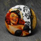 Pin Up Girl in Sailor Hat, Black and White Background, Decorated Vanity Pocket Mirror