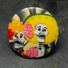 Day of the Dead Couple, Black and White Background, Decorated Vanity Pocket Mirror